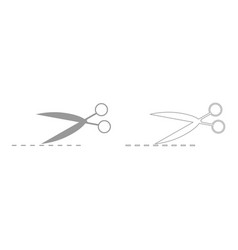 Scissor with cut line set icon vector