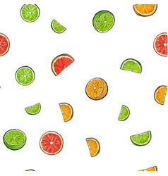 seamless pattern of whole and cut limes oranges vector image