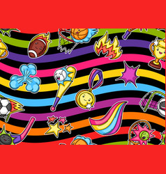 seamless pattern with kawaii sport items cute vector image