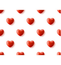 seamless pattern with realistic 3d heart happy vector image