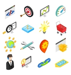 Seo isometric 3d icons set vector