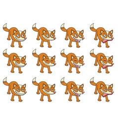 set 12 cute cartoon foxes vector image