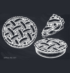 set hand drawn chalk apple pie vector image