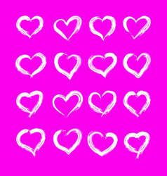 set of 16 pieces of hearts drawn with a brush vector image