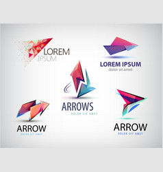 set of abstract logos arrows pointers vector image
