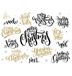 Set of hand lettering christmas greetings vector