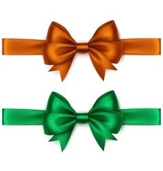 Set of Shiny Orange Green Satin Bows and Ribbons vector
