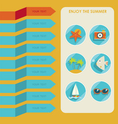 set of summer elements summer holidays concept vector image