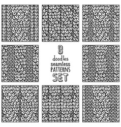 set of various doodles cable stitch patterns vector image