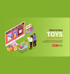 Shopping toys isometric banner vector