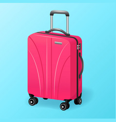 Single pink luggage travel bag isolated - baggage vector