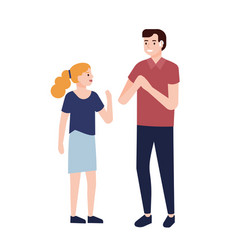 Smiling deaf man showing signs to little girl vector