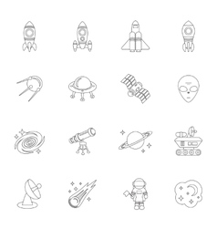 Space icons outline vector