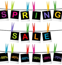 Spring sale concept with photo frames hanging on vector