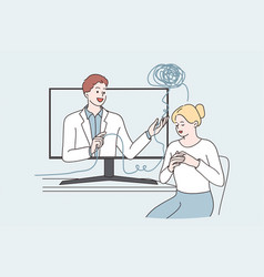 telemedicine and online medical support concept vector image