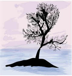 Tree silhouette on background sea ans sky vector