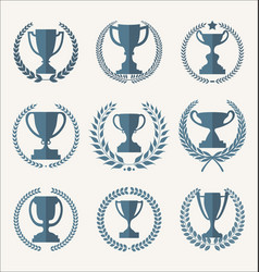 trophy and awards retro vintage collection 3 vector image
