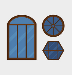type house windows element isolated flat style vector image