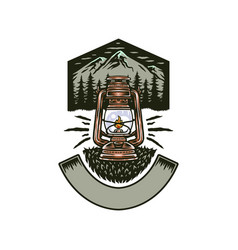 vintage camping lantern with mountains vector image