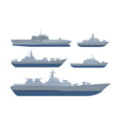 war ship set collection pack with various model vector image