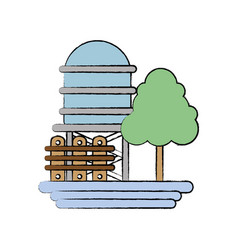 Water tabk towel with tree and grid wood vector