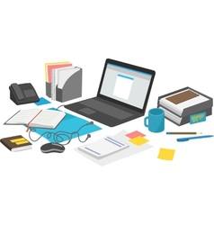 Work desk with laptop and paperwork notebook vector image