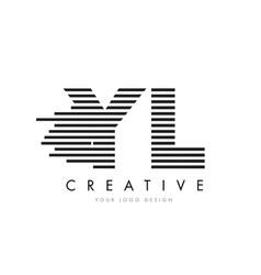 yl y l zebra letter logo design with black and vector image