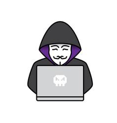 icon of hacker vector image