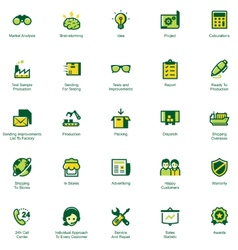Manufacturing and distribution icon set vector image vector image