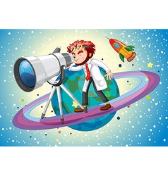 Scientist with giant telescope vector