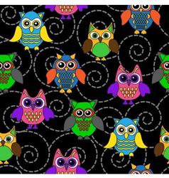 seamless background with curls and Cartoon owls vector image