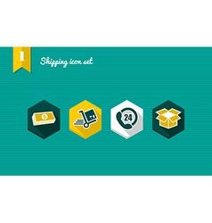 Shipping flat icons set vector image vector image