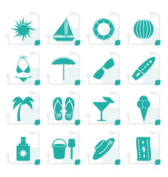 stylized summer and holiday icons vector image