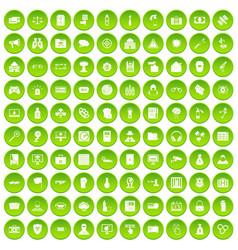 100 hacking icons set green circle vector image vector image