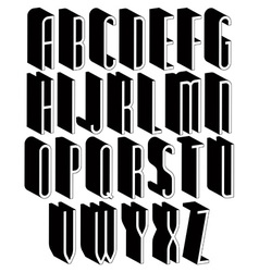 Black and white tall 3d font vector image vector image