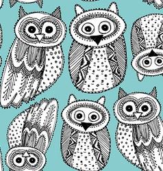 Decorative Hand dravn Cute Owl Sketch Doodle black vector image vector image