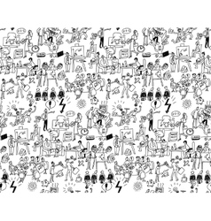 Office life seamless pattern business people black vector image vector image