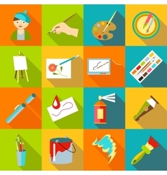 Painter artist tools icons set flat style vector