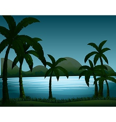 Silhouette nature scene with coconut trees vector image vector image