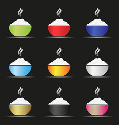 various color asian food bowl with hot rice fodd vector image vector image