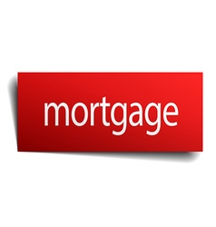 mortgage red square isolated paper sign on white vector image vector image