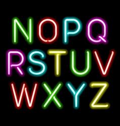Neon glow alphabet vector image