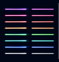 Neon light tubes set colorful stripes collection vector