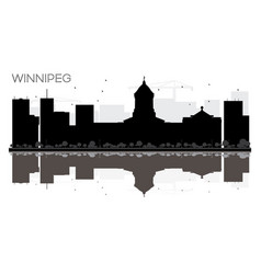 winnipeg city skyline black and white silhouette vector image vector image