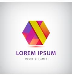 abstract geometric colorful ribbon logo vector image vector image