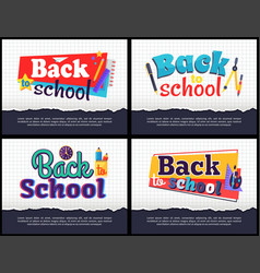back to school collection of colorful stickers vector image