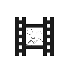 Black film icon with mountains vector