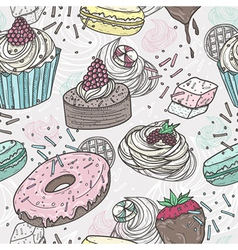 Cute sweets seamless pattern vector image