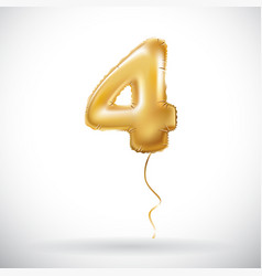 golden 4 number four metallic balloon party vector image vector image