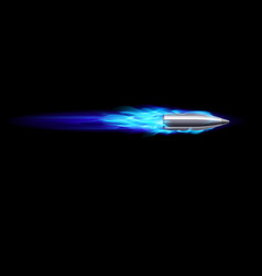 moving blue fiery gun bullet shot on black vector image vector image